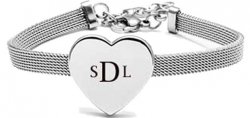 "Stainless Steel Personalized Love Heart 7.25"" Bracelet with Extender Engravable"