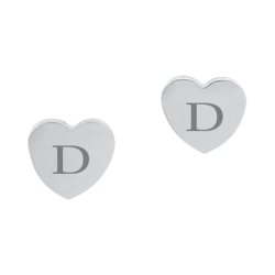 Stainless Steel Personalized Heart Pierced Earrings Engravable