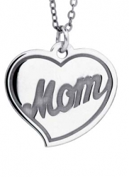 Sterling Silver Engravable Mom Pendant