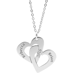 Sterling Silver Double Heart Engravable Pendant