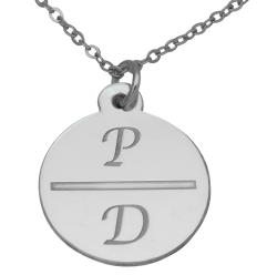 Sterling Silver Round Engravable 2 Initial Disc Pendant
