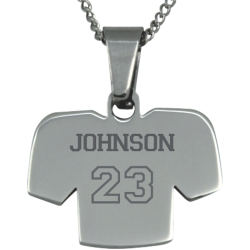 Stainless Steel Engravable Football Jersey Pendant