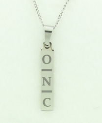 Personalized Engraved Vertical Initial Bar Pendant