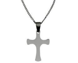 Stainless Steel Engravable Latin Cross Pendant on Chain