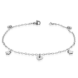 "Stainless Steel Bell and Heart 9.5"" Anklet"