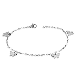 "Stainless Star 9 1/2"" Butterfly Anklet"