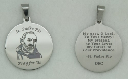 St. Padre Pio Personalized Prayer Pendant on Chain