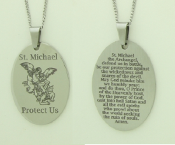 Large Oval St. Michael Catholic Prayer Pendant