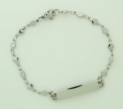 "Childrens 7 1/2"" ID Bracelet with Hearts and Flowers Chain"