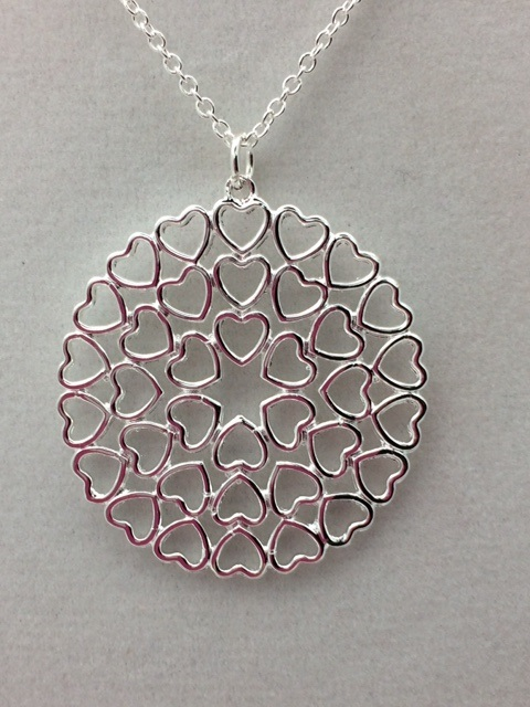 "Sterling Silver Round Heart Cluster Pendant on 16"" Chain"