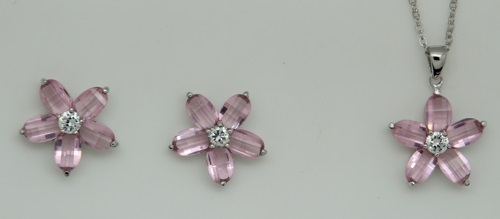 Sterling Silver and Pink Cubic Zirconia Flower Pendant and Pierced Earring Set