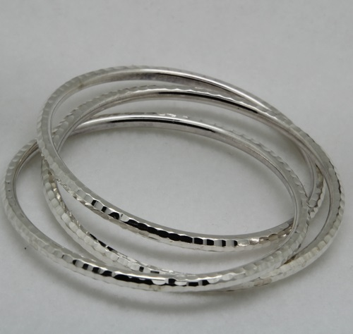 Sterling Silver Set of 3 Hammered Intertwined Bangle Bracelets