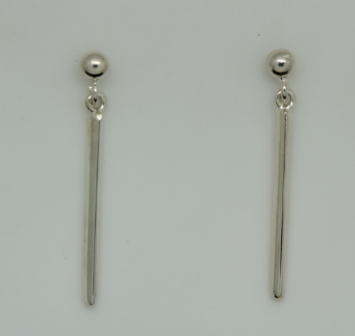 Sterling Silver Bar Dangle Pierced Earrings