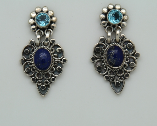 Sterling Silver Blue Topaz and Lapis Artisan Style Pierced Earrings