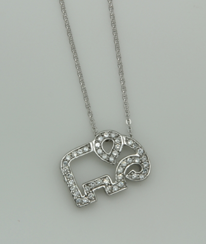 "Sterling Silver and Pave Cubic Zirconia Elephant Pendant on 16"" SS Chain"