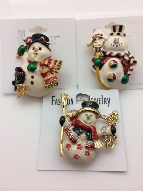 Set of 3 Holiday Snowman Pins with Crystal Accents