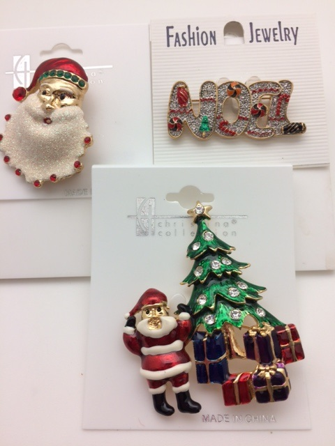 Set of 3 Christmas Holiday Pins - Santa, Christmas Tree, Noel Pins