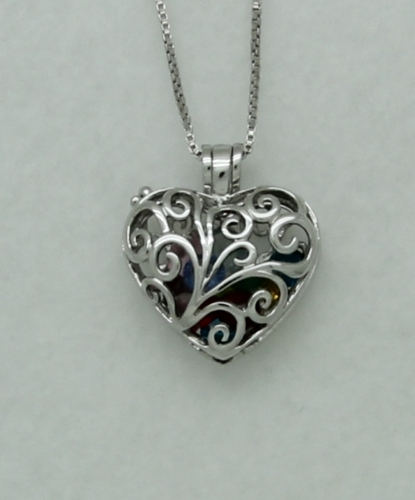 "Sterling Silver Filigree Heart Locket with 12 Crystal Gemstones on 24"" Box SS Box Chain"