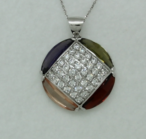 Sterling Silver Pave Circle Pendant with Multicolor Stones