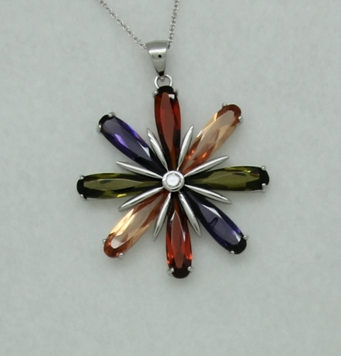 Sterling Silver Multicolor Flower Pendant with Chain